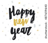 hand drawn happy hew year...   Shutterstock .eps vector #487659640