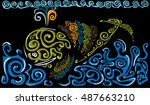 pattern whale at the pattern...   Shutterstock .eps vector #487663210