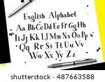 handwritten script font. hand... | Shutterstock .eps vector #487663588