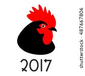 rooster   a sign of the chinese ... | Shutterstock .eps vector #487667806