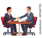 businessman shaking hands on a... | Shutterstock .eps vector #487669720