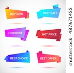 vector stickers  price tag ... | Shutterstock .eps vector #487671433