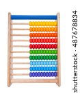 Small photo of wooden abacus on white background