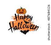 happy halloween card. modern... | Shutterstock .eps vector #487684126