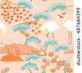 seamless pattern with birds....   Shutterstock .eps vector #487684399