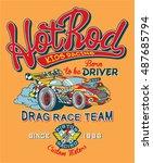 hot rod kids racing team  print ... | Shutterstock .eps vector #487685794