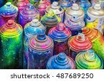used cans of spray paint | Shutterstock . vector #487689250