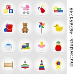 baby toys and accessories flat... | Shutterstock . vector #487691749