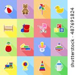 baby toys and accessories flat... | Shutterstock . vector #487691824