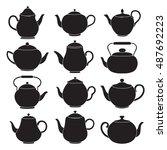 vector tea pots silhouettes. | Shutterstock .eps vector #487692223