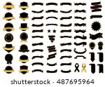 banner black vector icon set on ... | Shutterstock .eps vector #487695964