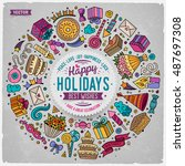 colorful vector hand drawn set... | Shutterstock .eps vector #487697308