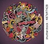cartoon cute doodles hand drawn ... | Shutterstock .eps vector #487697428
