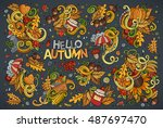 colorful vector hand drawn... | Shutterstock .eps vector #487697470