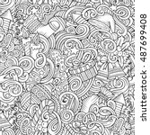 cartoon cute doodles new year... | Shutterstock .eps vector #487699408