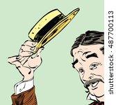 the gentleman politely raised...   Shutterstock .eps vector #487700113