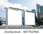 blank billboard against blue... | Shutterstock . vector #487702900