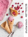 homemade raspberry ice cream in ... | Shutterstock . vector #487703158