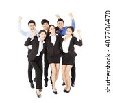 happy young  business team with ... | Shutterstock . vector #487706470
