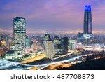 skyline of santiago de chile... | Shutterstock . vector #487708873