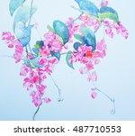 mexican creeper watercolor | Shutterstock . vector #487710553