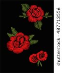 red roses embroidery | Shutterstock .eps vector #487713556