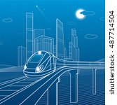 train on a bridge. business... | Shutterstock .eps vector #487714504