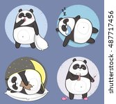 set of cute panda bear stickers ... | Shutterstock .eps vector #487717456