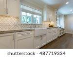 modern kitchen remodel with... | Shutterstock . vector #487719334
