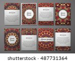 flyers template set with... | Shutterstock .eps vector #487731364