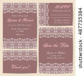 set of wedding cards with... | Shutterstock .eps vector #487735384