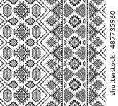 ethnic seamless monochrome...   Shutterstock .eps vector #487735960