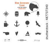 outdoor icons and elements set...