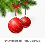christmas branch with hanging... | Shutterstock .eps vector #487738438