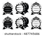 set of vintage wooden barrels... | Shutterstock .eps vector #487745686