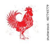 rooster red label. vintage... | Shutterstock .eps vector #487745779