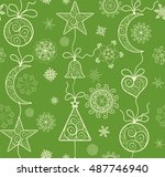 ornate green background with... | Shutterstock .eps vector #487746940