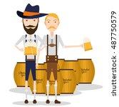 pair of men holding beer mugs ...   Shutterstock .eps vector #487750579