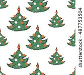 christmas seamless pattern with ... | Shutterstock .eps vector #487753504
