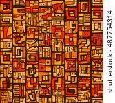 Orange And Brown Aztec Seamles...