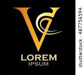 letter v logo vector  v letter... | Shutterstock .eps vector #487756594