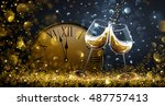twelve o'clock on new year's... | Shutterstock .eps vector #487757413