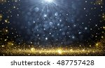 christmas background with bokeh ... | Shutterstock .eps vector #487757428