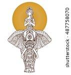 Yoga Girl On Elephant. Arabic...
