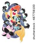 hand drawn koi fish tattoo | Shutterstock .eps vector #487758100