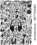 music doodles   Shutterstock .eps vector #487763680