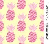 pineapples on the white... | Shutterstock .eps vector #487766524
