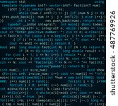 seamless dark blue pattern with ... | Shutterstock .eps vector #487769926