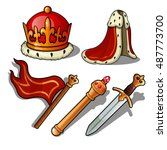 the attributes of the king.... | Shutterstock .eps vector #487773700
