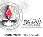 a beautiful card with line art... | Shutterstock .eps vector #487779868